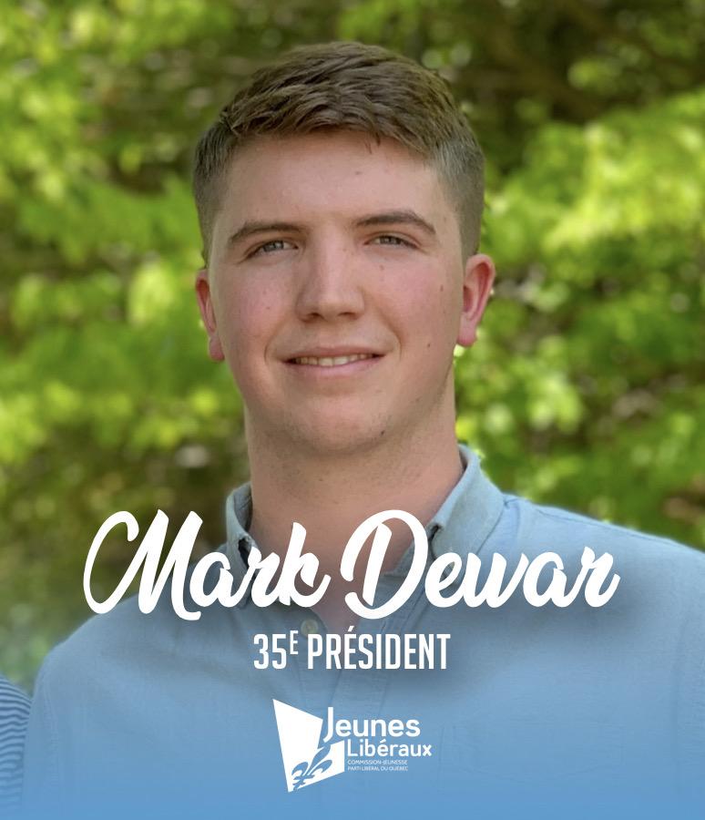 Mark Dewar, 35e président des Jeunes libéraux de la Commission-Jeunesse du Parti libéral du Québec.